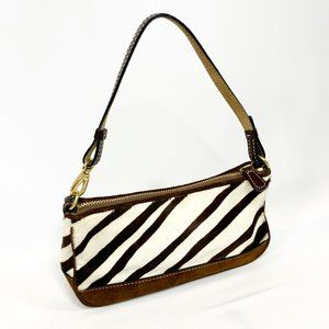 COACH Calfskin Zebra Print Leather Suede Wristlet